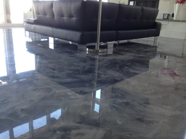 Metallic Flooring Is A One Hundred Percent Solids Two Element Epoxy From Basement Floor Treatments To Kitchen Area Covering