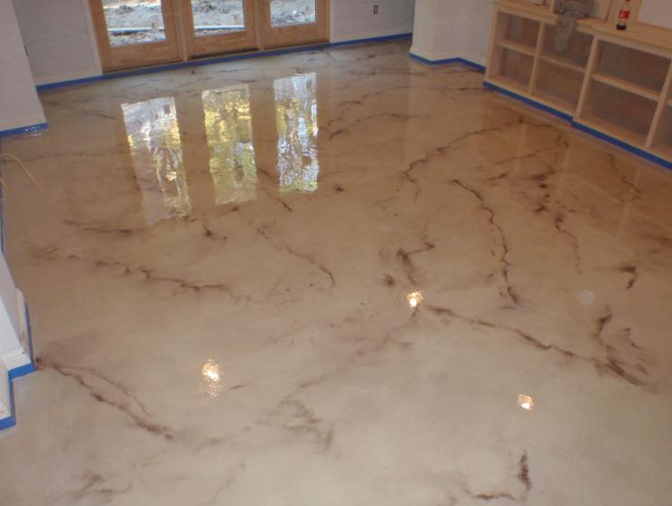 metallic epoxy mirrors light and also supplies the finished flooring a